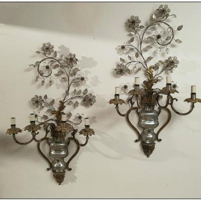 Pair Of Sconces In The Style Of Maison Bagues, Paris Around 1930