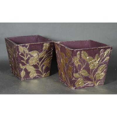 Pair Of Nice Art Nouveau Planters, Italy Early 20th Century