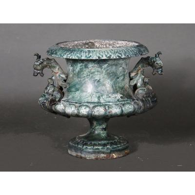 Enameled Cast Iron Vase With A Faut Marble Decor, France, 19th Century