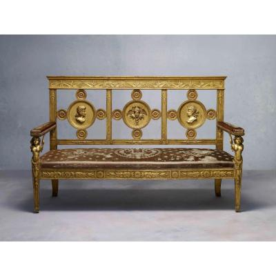 Important Empire Period Bench , Carved And Gilted With Its Original Cover, Lucca Circa 1800