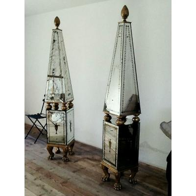 Large Pair Of Obelisks Plated With Decorated Murano Mirrors, Italy 1930s Studio S.a.l.i.r.