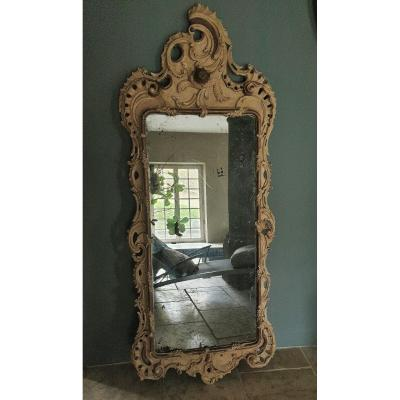 Large Swedish Carved And Lacquered Mirror From 18th Century