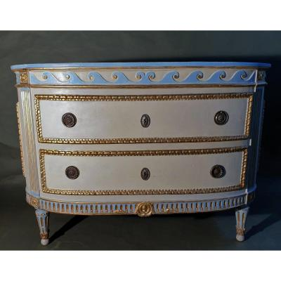 Exceptional Pietmontese Painted And Gilted Commode ,  Original Ivory Marble, Turin 1780
