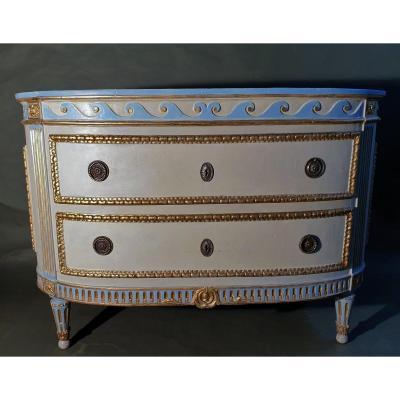 Commode piémontais de l'époque transition peinte et dorée. Marbre d'origine ivoire, Turin 1780