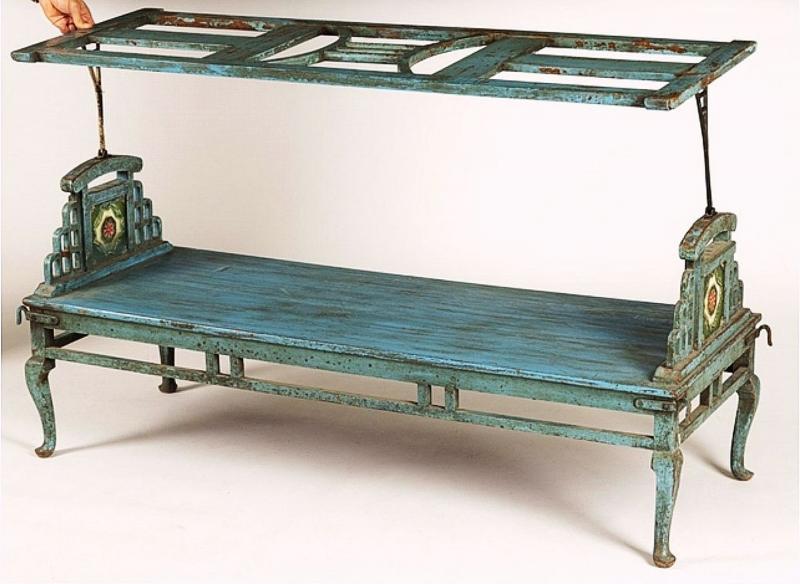 Banquette de jardin peinte bleu, Indie fin 19ième siècle -photo-3