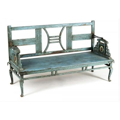 Blue Painted Garden Bench, India Late 19th Century