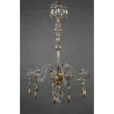 A Neoclassic Chandelier, Murano Crystal And Gilted Wood, Lucca Early 19th