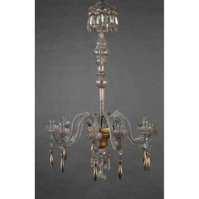 Lustre de l'époque neoclassique, en cristal de murano avec du bois doré, Lucca début 19ième