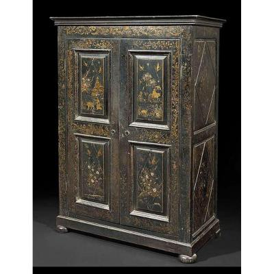 A Small Chinese Style Painted Two Door Wardrobe, South France, 19th Century