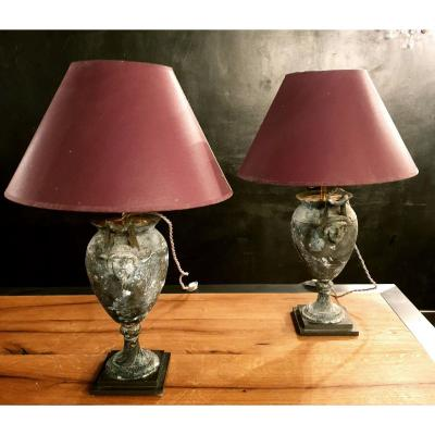 Pair Of  Zinc Lamps With Nice Patina, France, 19th Century