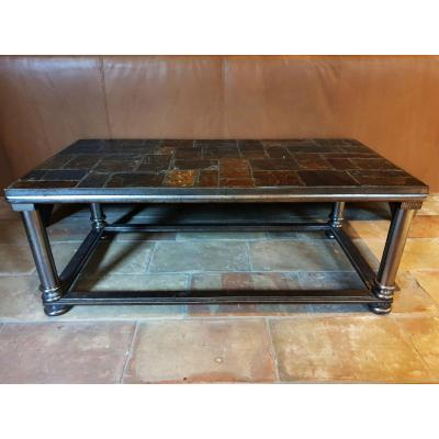 1930s Steel Coffee Table With  Nature Stone Tiled Top, France