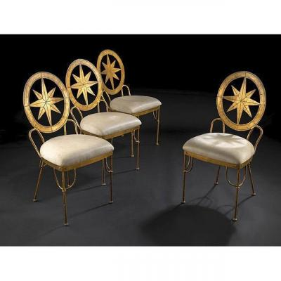 Series Of Four Wrought And Gilted Iron Chairs  , Italy, 1970s