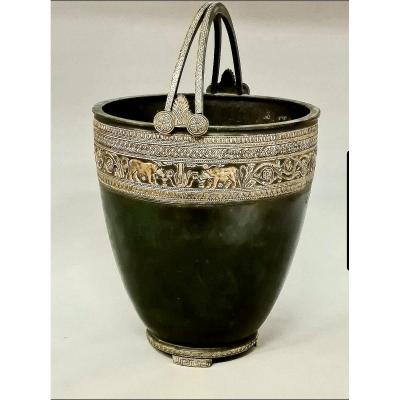 Important Situla After The Roman Model Found At  Pompeij.foundery  Chiurazzi, Naples Circa 1870