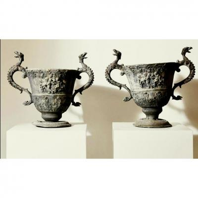 Pair Of Lead Garden Vases, Decorated Wirh Angels, England 19th Century