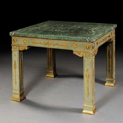 Rare Green And Gilded Lacquer Centerttable,  , Lucca Circa 1810