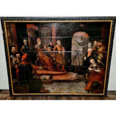 Large Painting Of Baroque Period, The Verdict Of King Salomon, South Germany, 17th Century