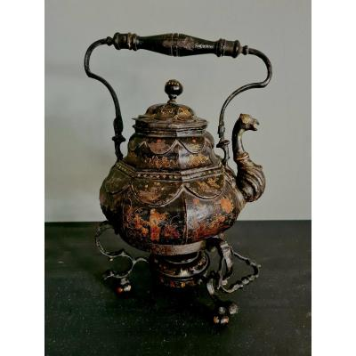 A Painted Tin Teapot With Warmer , Chinese Decoration, England 18th Century,