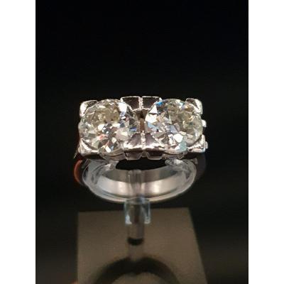 Bague Art Déco 1925 En Platine Et Importants Diamants 1,75ct×2