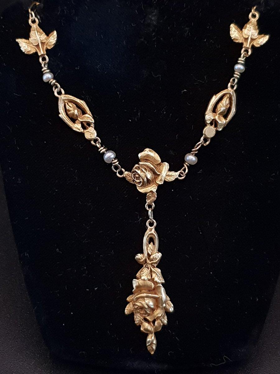 Collier Art Nouveau Or Et Perles Fines