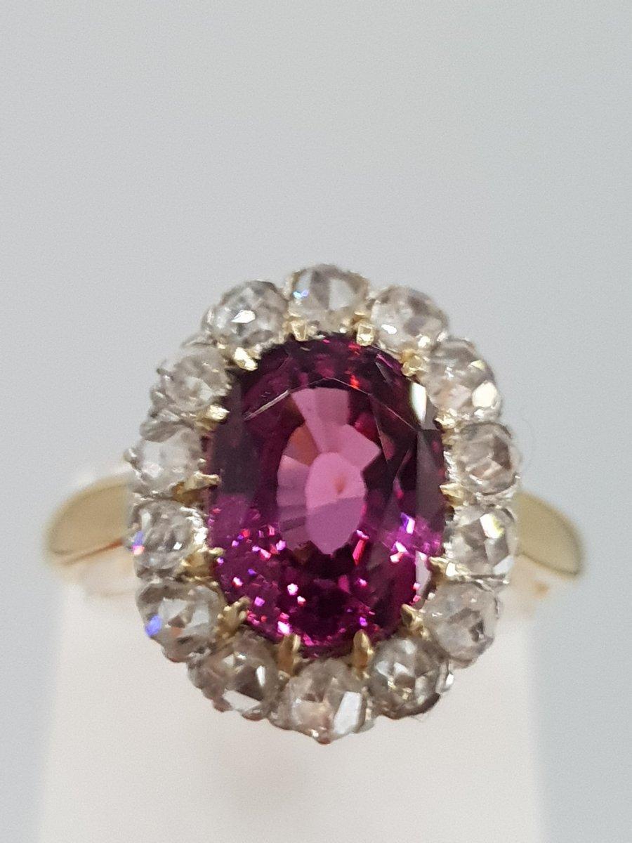 Bague Pompadour Ancienne Début 20ème Or Grenat, Diamants