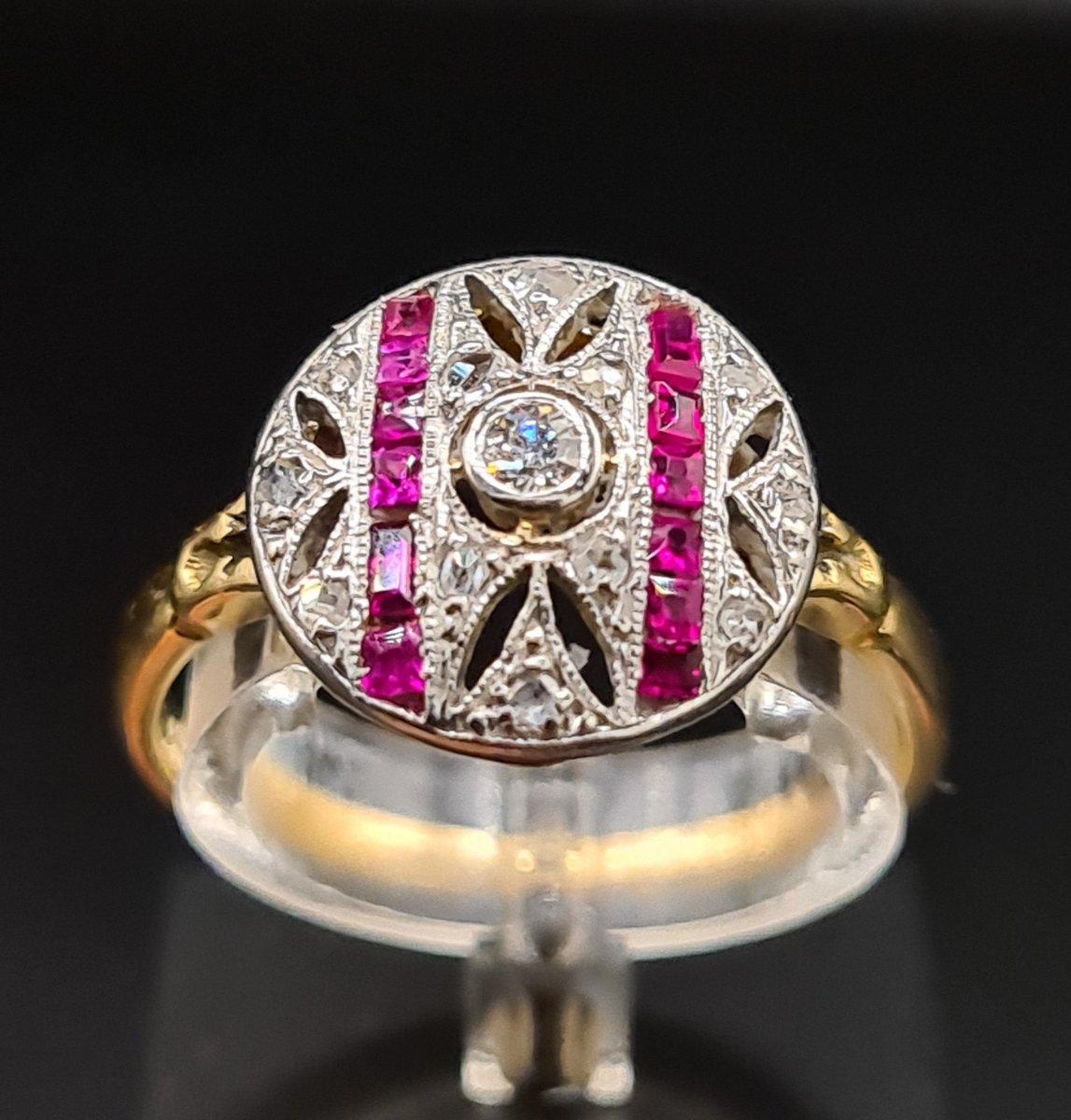 Bague Ancienne Époque Art Déco 1920, Or Diamants Et Pierres Rouges