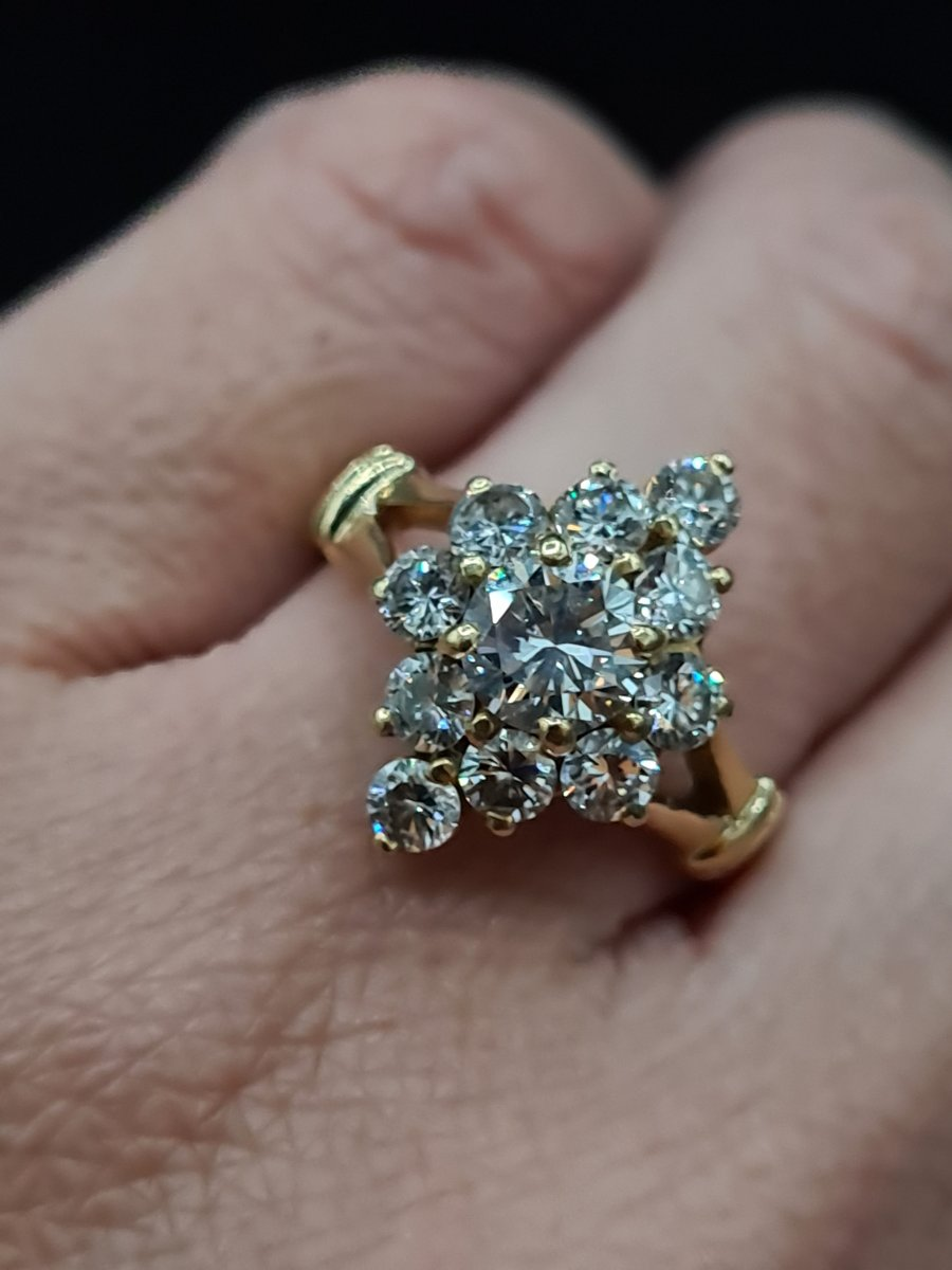 Contemporary Gold And Diamond Marquise Ring