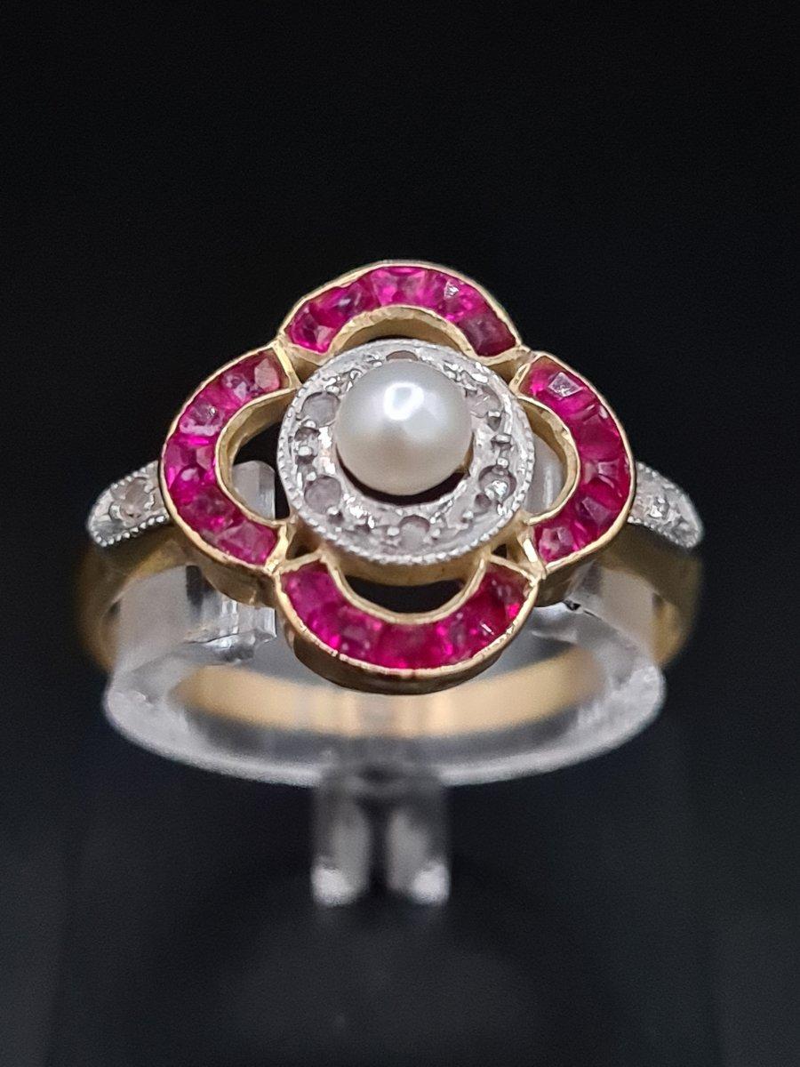 Bague Ancienne Époque Art Déco 1920, Or Diamants Pierres Rouges, Perle