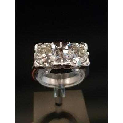 Art Deco 1925 Ring In Platinum And Large Diamonds 1.75ct × 2