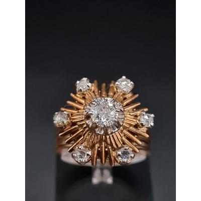 1960's Flower Ring, Platinum Gold And Diamonds