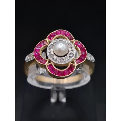 Antique 1920 Art Deco Ring, Gold Diamonds Red Stones, Pearl
