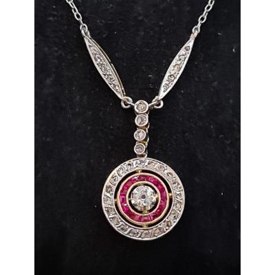 Pendentif Art Déco,  Platine Or Diamants Rubis*