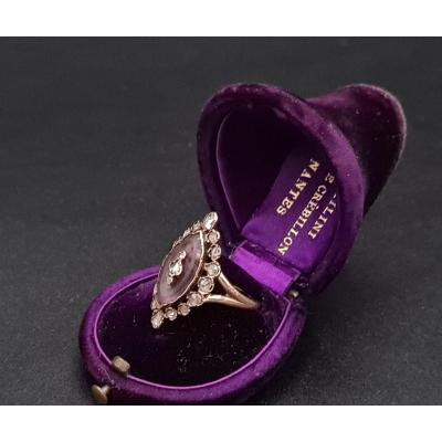 Old Marquise Ring Late 19th Gold, Amethyst And Diamonds
