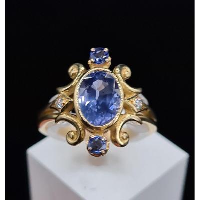 Bague Ancienne Vers 1900, Or Saphir Ceylan Diamants