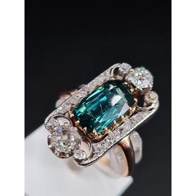 Sublime Bague Ancienne Belle Époque 1900 Or Diamants Tourmaline Verte