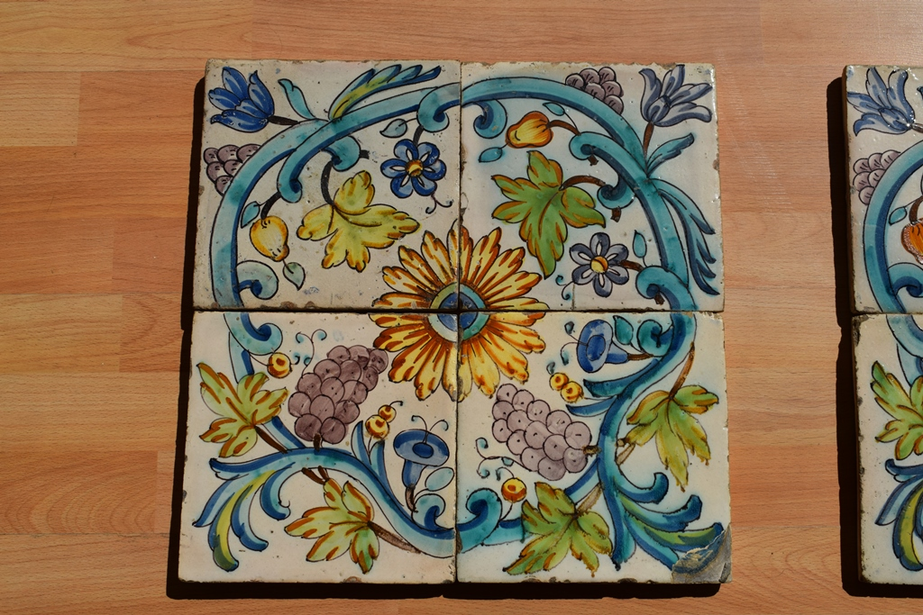 8 Antique Earthenware Tiles With A Floral Decor. From XVIIIth Century
