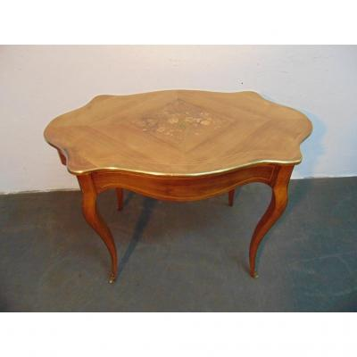 Violin-shaped Walnut Table With A Central Inlaid.