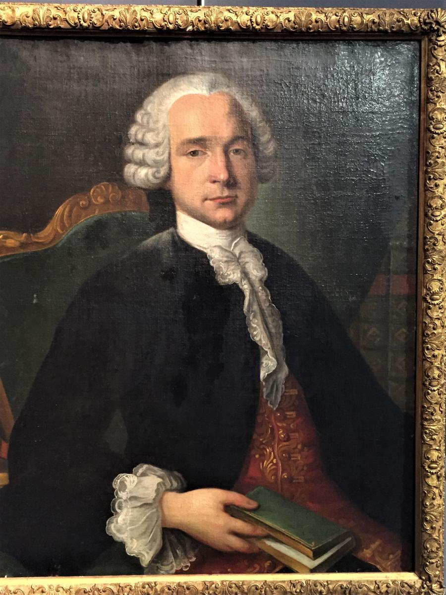 Portrait d'Homme Au Livre. École Francaise Du XVIIIème.