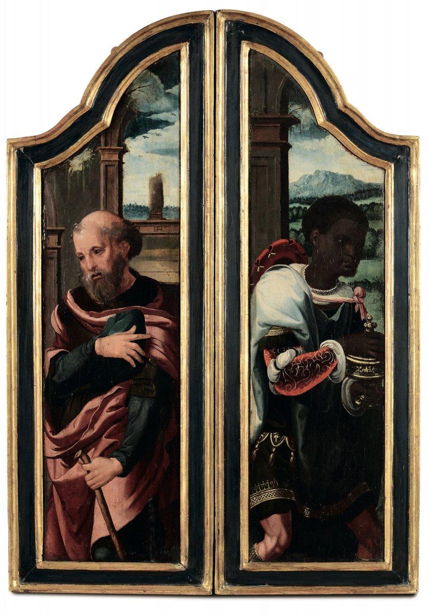 Deux Peintures Renaissance Flamande. Éléments De Retable Du Début Du XVIème Siècle.