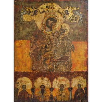 Grande Icône Gecque Du XVIIIe. La Vierge à l'Enfant Couronnée Par Deux Saints.