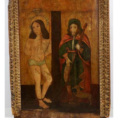 Peinture Haute Epoque Du XVème. Saint Sebastien Et Saint Roch. Grand Panneau.