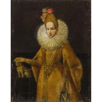 École Italienne Du XVIème. Portrait d'Une Princesse. Grande Huile Sur Toile.