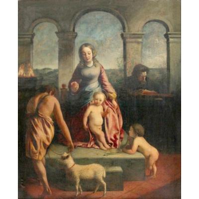 La Sainte Famille Avec Saint Jean. Grande Peinture Du XVIIème