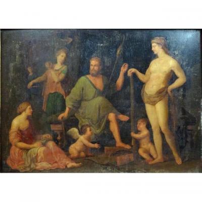 Hercule Et Omphale. Scène Mythologique. 17./18ème Siècle