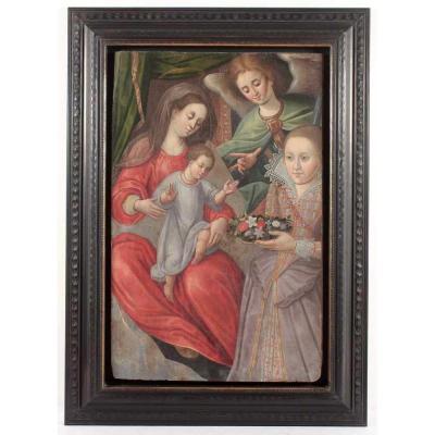Grande Peinture XVI-xviie. La Vierge à l'Enfant Avec Ange Et Donateur