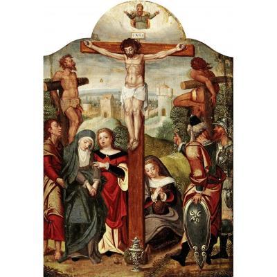 Peinture Renaissance. La Crucifixion Avec Larrons. Ca. 1500