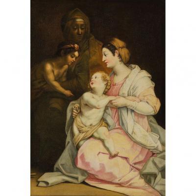 Importante école Italienne Du XVIIème. La Vierge à l'Enfant.