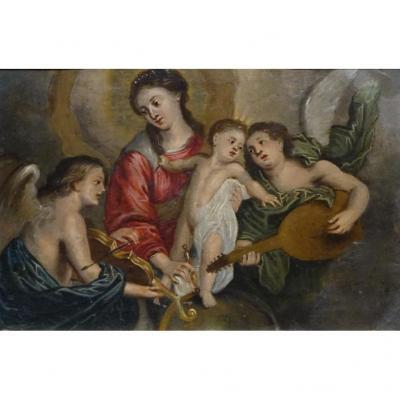 Peinture Du XVIIe. La Vierge à l'Enfant Et Les Anges Musiciens.