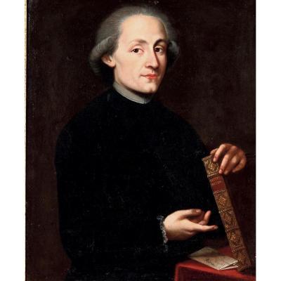 École Italienne. Portrait d'Homme Au Livre. Époque XVIIIème