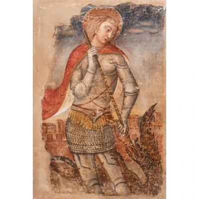 Grande Fresque. Italie Fin XVème. Saint Georges Terrassant Le Dragon.