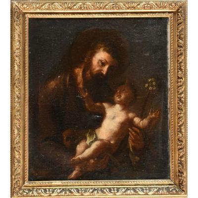 Peinture Du XVIIème. Saint Joseph Et l'Enfant Jésus.